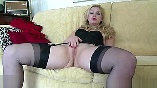 Blonde Aston Wilde strip tease in vintage lingerie heels black nylons slips down sheer panties wanks