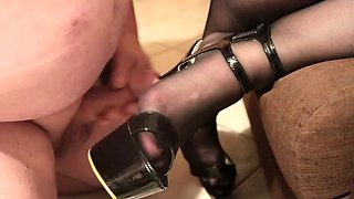 With high heels in the pee hole and waxed