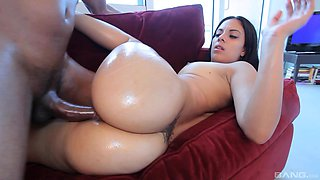Stunning Coco Valentina seduced by a handsome black man