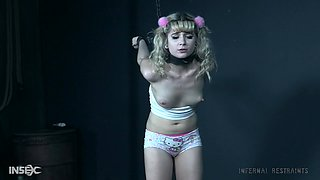 Blonde barbie Dolly Mattel tied up and machine fucked