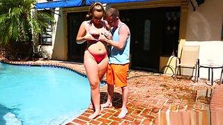 Busty Girl Rides Cock At Pool