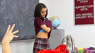 Innocent Brunette Teen Fucked By Her Teacher On The Desk