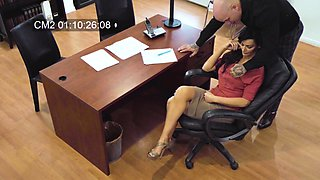 Hidden cam at the office records Becky Bandinig getting fucked