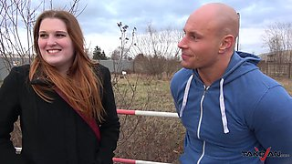 Redhead teen Ruby picked up on the streets and fucked in a car
