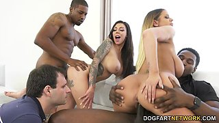 Busty Brooklyn Chase And Karma Rx Interracial Foursome Sex