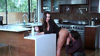 Sexy MILF Lisa Ann gets hammered hard in the kitchen