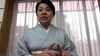 Japanese granny takes on a gang of cocks and gets facialized