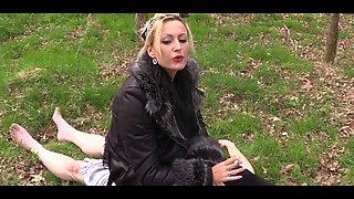 Mistress taking slave to picnic