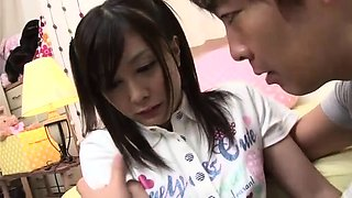Sweet Asian schoolgirl takes a hard dick in her hairy twat