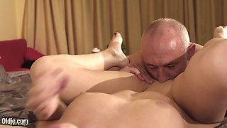 Teen girl gets grandpa horny and rides his cock then swallow