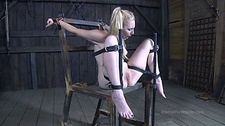 Blonde's cunt gets wet as she is treated like a naughty sex slave