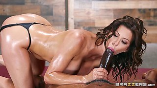 Steamy Oiled up busty MILF Alexis Fawx loves BBC balls deep