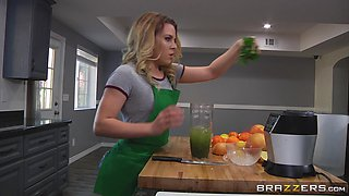 Blonde Aubrey Sinclair seduced by lesbian Krissy Lynn in the kitchen