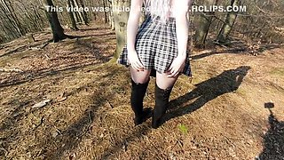 Hot Teen In Fishnet Gets Outdoor Anal With Blowjob And Creampie