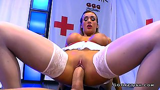 Tattooed busty nurse shows bukkakes and swallows