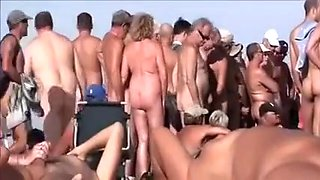 Nasty mature couples on the European nudist beach feel no shame