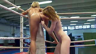 Amateur redhead stripped during wrestling