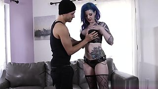 Cute Blue Haired Emo Chick On Her Very First Porn Shooting