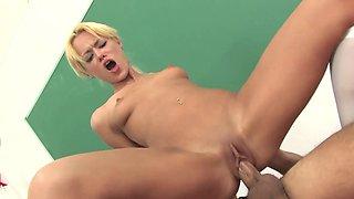 Schoolgirl Rebecca Blue sucking dick and fucking in class
