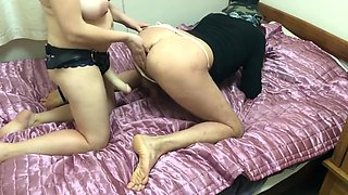 Cum eating bisexual couple bi cuckold husband and wife ass pegging cum swap