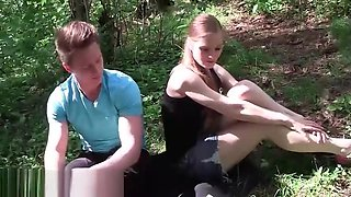 Teen russian blonde fucked in forest for cash