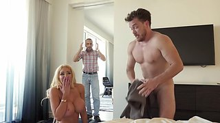 Aroused blonde gets the step son to show her a good time