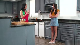 Teen licked by stepmom in the kitchen