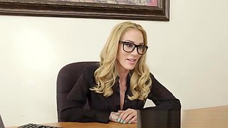 Curvy Office Blonde With Glasses