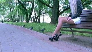 Blonde girl in nylons