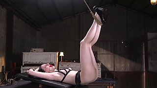 Tied up slave gets big dick up her ass