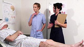 UK sperm nurses tug cock in trio for facial