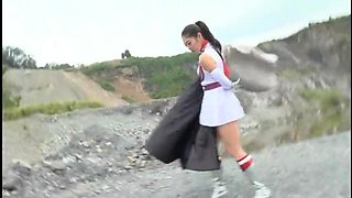 Kinky Oriental babe in a funny uniform enjoys hardcore sex