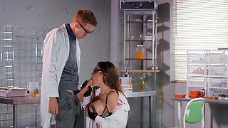 Excited intern properly analyzes busty scientist in laboratory