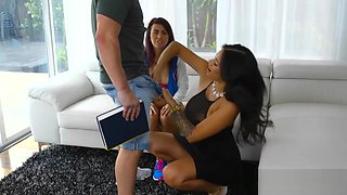 Latina stepmom dickriding with teen in trio