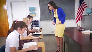 Lesbian teen schoolgirls punished a MILF teachers pussy
