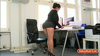Very appetizing secretary is fucked and licked from behind