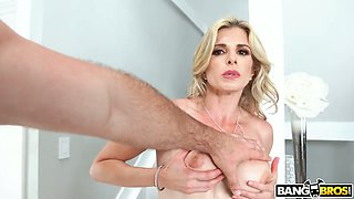 Curvaceous auburn Cory Chase gets her wet American pussy stretched