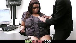Black BBW secretary rides her boss\'s cock