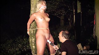 Tied up young slave endures punishment in BDSM sesh