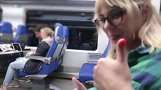 Remote control my orgasm in the train public female orgasm