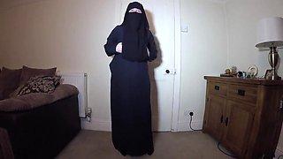 Muslim burqa dance and strip