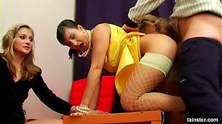 Fascinating elegant babes enjoy the long-awaited pussy penetration