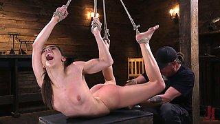Tied up porn model Abella Danger gets punished in the BDSM room