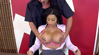 Big boobs Latina babe and the janitor fucking