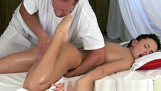 Massage loving model fingered sensually