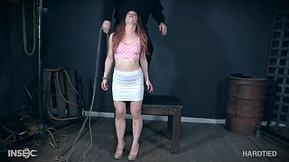 Brunette petite MILF Kate Kennedy surprised with hardcore bondage