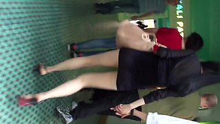 Stupid leggy Asian cumslut shows her pantyhose upskirt P2
