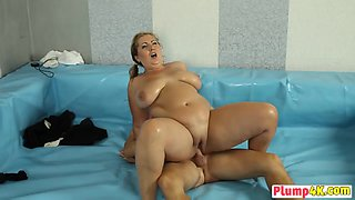 Couple of horny BBW sluts passionately fuck after having wrestling