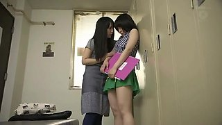 Mellow Japanese teenage girl in beautiful lesbian sex video