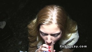 Sexy blonde Euro amateur fucks outdoor
